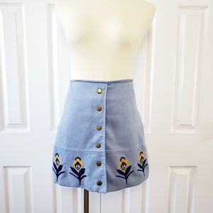 Dresses & Skirts - Blue Suede Embroidered Mini Skirt